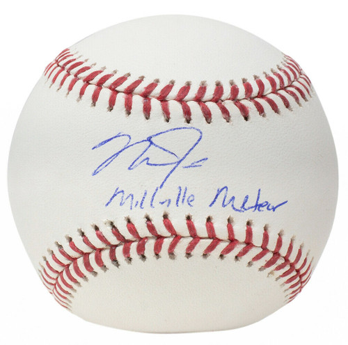 """MIKE TROUT Los Angeles Angels Autographed and Inscribed """"Millville Meteor"""" Official MLB Baseball MLB AUTHENTICATED"""