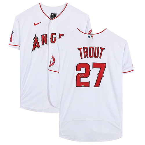 MIKE TROUT Autographed Los Angeles Angels White Nike Authentic Jersey MLB AUTHENTICATED