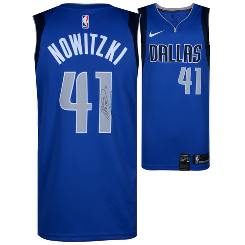 DIRK NOWITZKI Autographed Dallas Mavericks Royal Icon Edition Nike Blue Swingman Jersey FANATICS