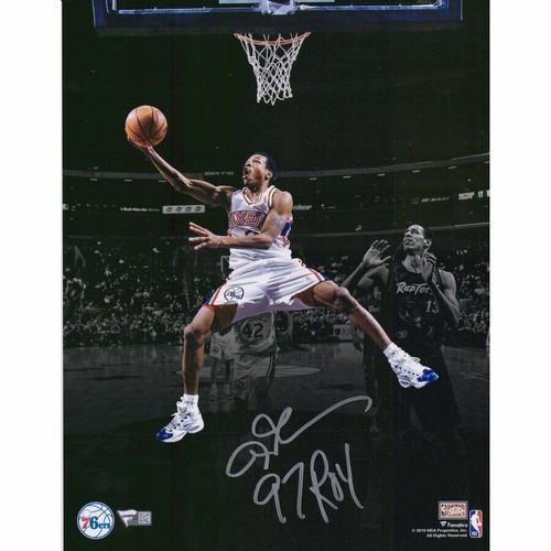 "ALLEN IVERSON Autographed and Inscribed ""ROY 97"" Philadelphia 76ers 11"" x 14"" Spotlight Photograph FANATICS"