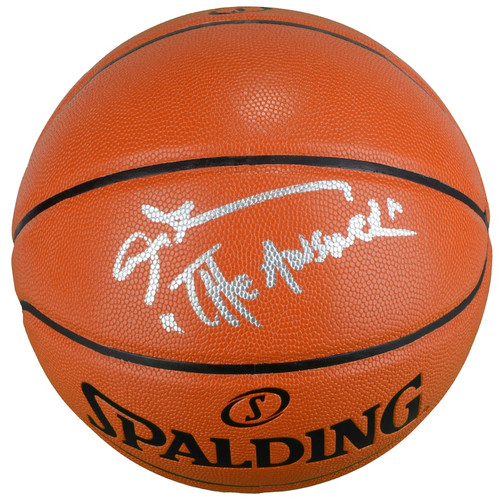 """ALLEN IVERSON Autographed and Inscribed """"The Answer"""" Spalding Game Ball Series Basketball FANATICS"""