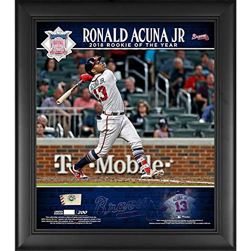 """RONALD ACUNA JR. Atlanta Braves Framed 15"""" x 17"""" 2018 NL Rookie of the Year Player Collage with a Piece of Game-Used Baseball FANATICS"""
