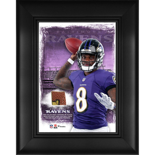 "LAMAR JACKSON Baltimore Ravens Framed 5"" x 7"" Player Collage with a Piece of Event-Used Football FANATICS"