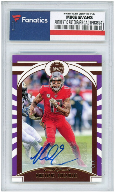 MIKE EVANS Autographed Tampa Bay Buccaneers 2020 Panini Legacy Card PANINI LE 1/2