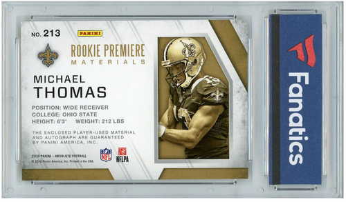 MICHAEL THOMAS Autographed New Orleans Saints 2016 Panini ABS Relic Card PANINI LE 138/499