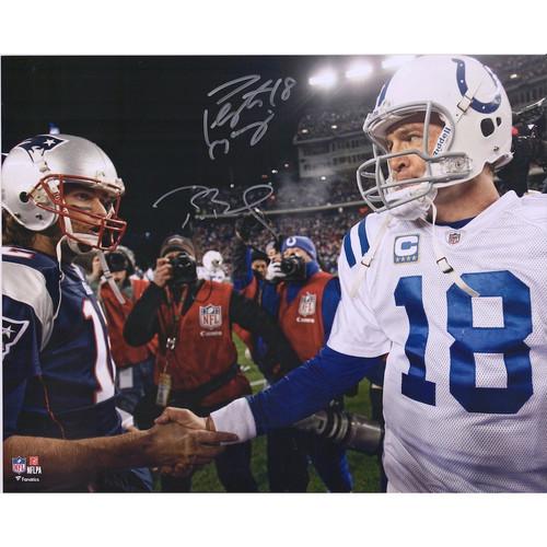 "TOM BRADY / PEYTON MANNING Autographed 16"" x 20"" 'Handshake' Photograph FANATICS"