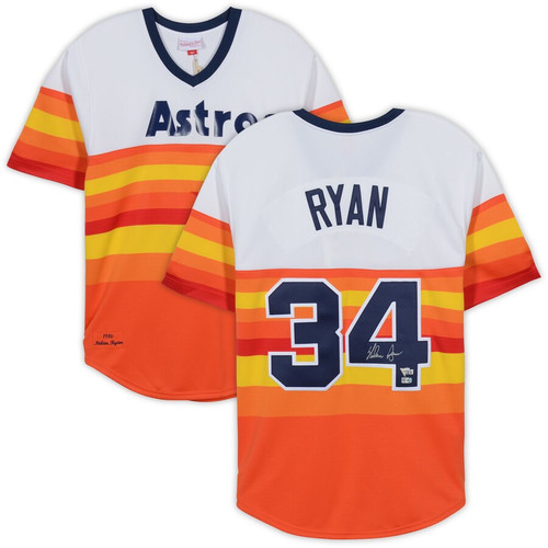 NOLAN RYAN Autographed Houston Astros Authentic Rainbow M&N Throwback Jersey FANATICS