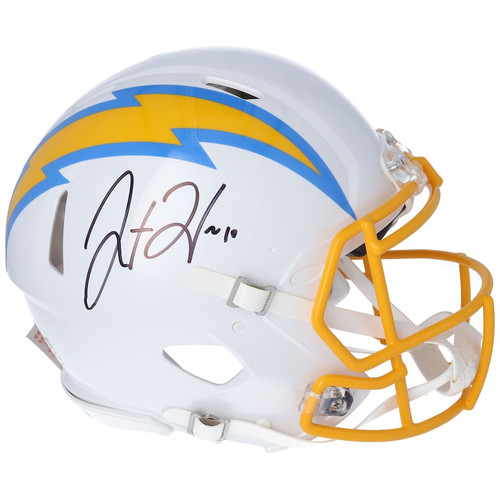 JUSTIN HERBERT Autographed Los Angeles Chargers Authentic Speed Helmet FANATICS