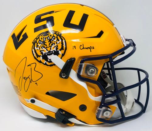 "JOE BURROW Autographed ""19 Champs"" LSU Tigers Speed Flex Authentic Helmet FANATICS"