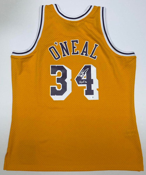 """SHAQUILLE O'NEAL Autographed """"HOF 16"""" Los Angeles Lakers Jersey FANATICS"""