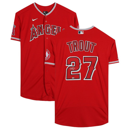 MIKE TROUT Autographed Los Angeles Angels Red Authentic Nike Jersey MLB AUTHENTICATED