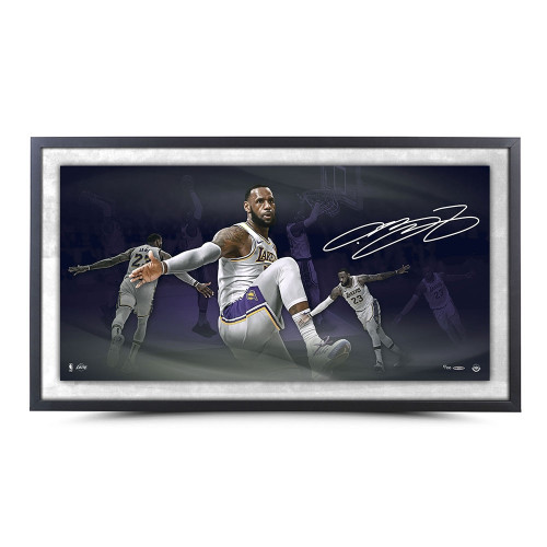 "LEBRON JAMES Autographed Los Angeles Lakers ""Poetry"" Framed 36"" x 18""Photo UDA LE 100"