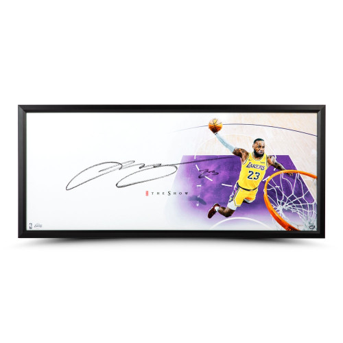 "LEBRON JAMES Autographed The Show ""Lakers"" Framed 46"" x 20"" Photo UDA"