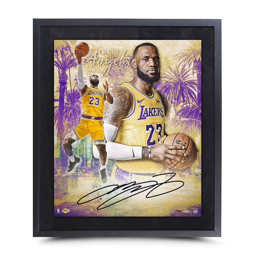 "LEBRON JAMES Autographed ""City of Angels""  FRAMED 20"" x 24"" Photo UDA LE 100"