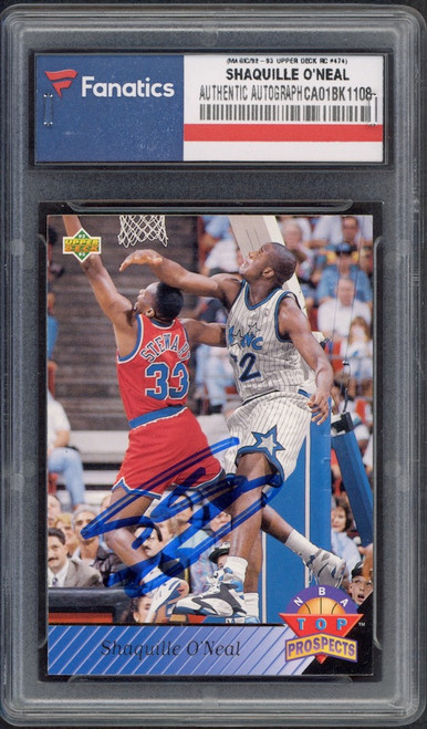 SHAQUILLE O'NEAL Orlando Magic Autographed 1992-93 Upper Deck RC #474 Card FANATICS