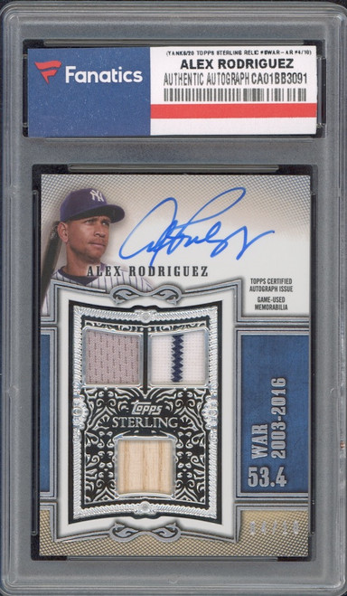 ALEX RODRIGUEZ New York Yankees Autographed 2020 Topps Sterling Multi Relic #SWAR-AR #4/10 Card TOPPS