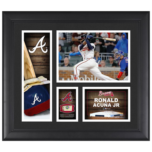 RONALD ACUNA Jr. Atlanta Braves Framed Collage w/ Game Used Piece of Baseball