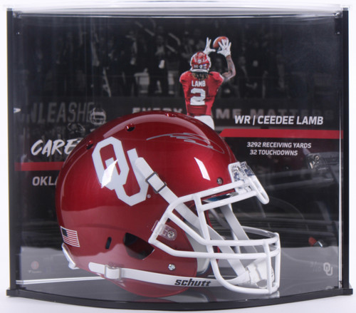 CEEDEE LAMB Autographed Oklahoma Sooners Authentic Helmet Curve Display FANATICS LE 10