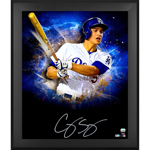 "COREY SEAGER Autographed Los Angeles Dodgers ""In Focus"" 20 x 24 Photograph FANATICS"