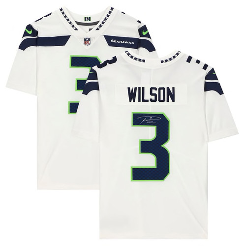 RUSSELL WILSON Autographed Seattle Seahawks White Nike Limited Jersey FANATICS