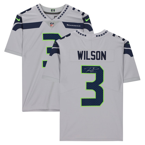 RUSSELL WILSON Autographed Seattle Seahawks Gray Nike Limited Jersey FANATICS