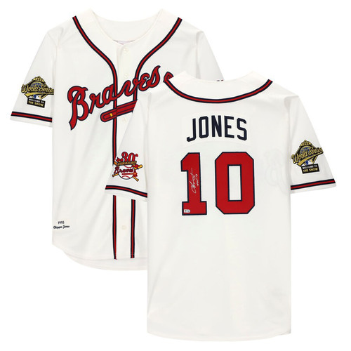 "CHIPPER JONES Autographed / Inscribed ""HOF 18"" Atlanta Braves White Mitchell & Jess Authentic Jersey FANATICS"