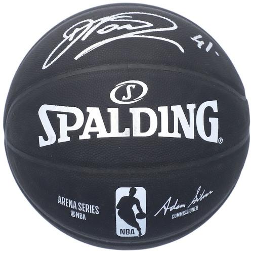 DIRK NOWITZKI Dallas Mavericks Autographed Black Spalding Indoor/Outdoor Basketball FANATICS