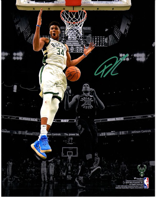 "GIANNIS ANTETOKOUNMPO Autographed Milwaukee Bucks ""Vs. Indiana"" 11"" x 15"" Spotlight Photograph FANATICS"