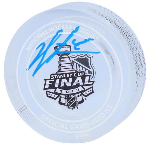 JORDAN BINNINGTON St. Louis Blues Autographed 2019 Stanley Cup Finals Logo Crystal Puck FANATICS