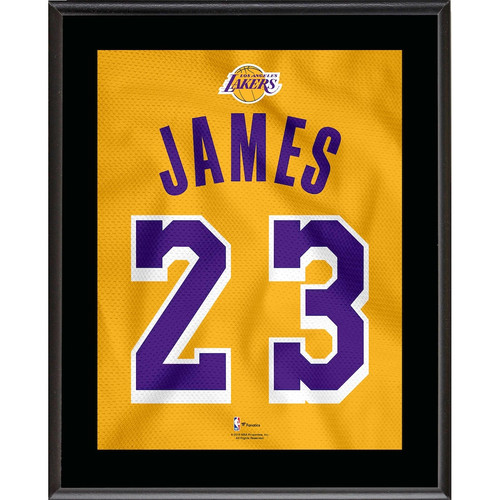 "LEBRON JAMES Los Angeles Lakers 10.5"" x 13"" Gold 2018-19 Jersey Style Number 23 Sublimated Plaque"