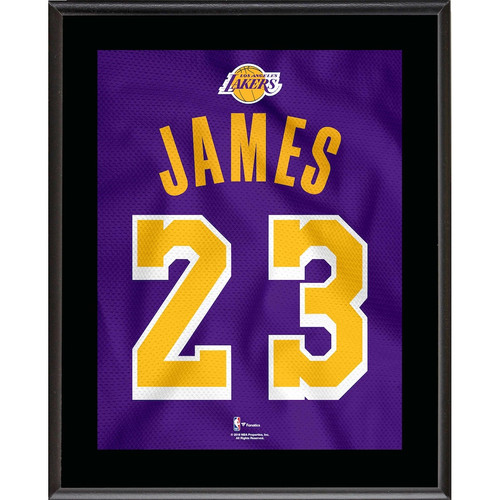 "LEBRON JAMES Los Angeles Lakers 10.5"" x 13"" Purple 2018-19 Jersey Style Number 23 Sublimated Plaque"