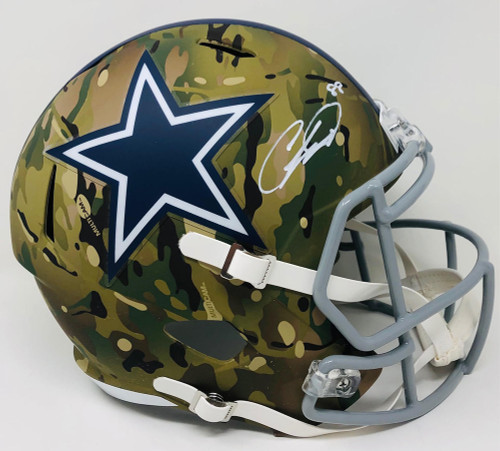 CEEDEE LAMB Autographed Dallas Cowboys Camo Alternate Speed Full Size Helmet FANATICS