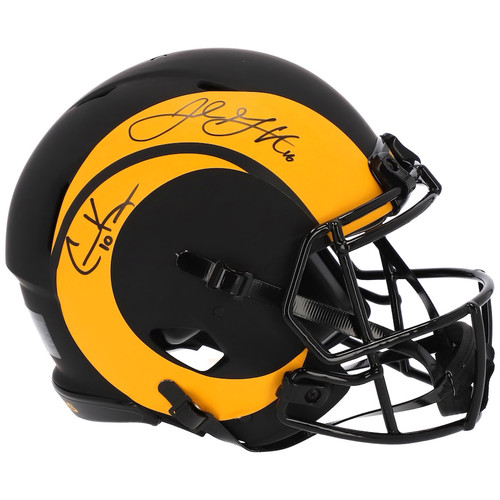 JARED GOFF COOPER KUPP Autographed Los Angeles Rams Eclipse Speed Authentic Helmet FANATICS