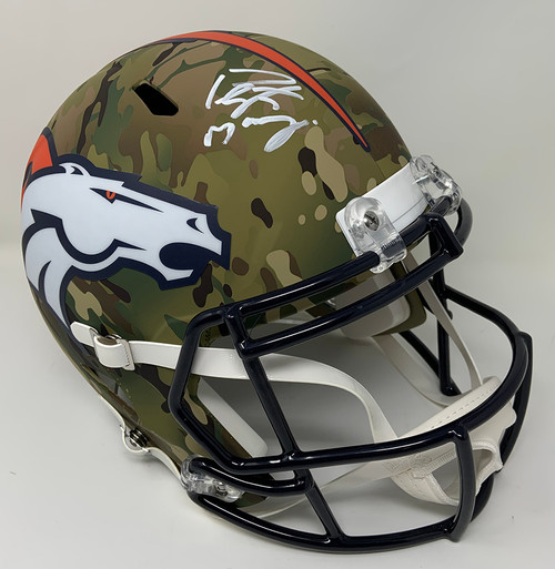 PEYTON MANNING Autographed Denver Broncos Camo Speed Full Size Helmet FANATICS