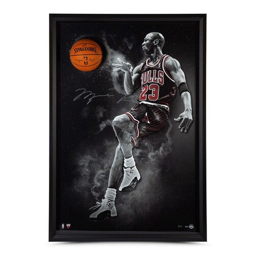 "MICHAEL JORDAN Autographed Chicago Bulls ""No Look"" Framed Break Through Display UDA LE 123"