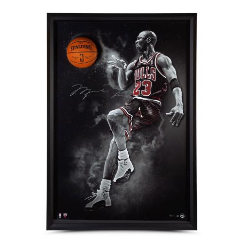 "MICHAEL JORDAN Autographed Chicago Bulls ""No Look"" Framed Break Through Display UDA LE 123"