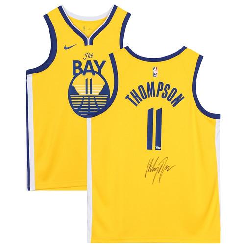 KLAY THOMPSON Autographed Golden State Warriors Gold 19-20 The Bay Swingman Jersey FANATICS