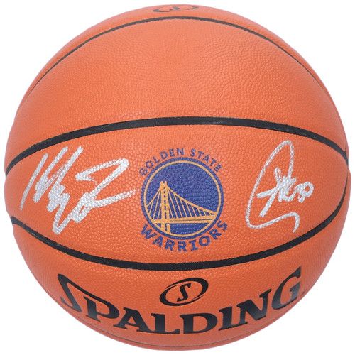 STEPHEN CURRY / KLAY THOMPSON Dual Autographed Golden State Warriors Logo Game Ball Series Basketball FANATICS