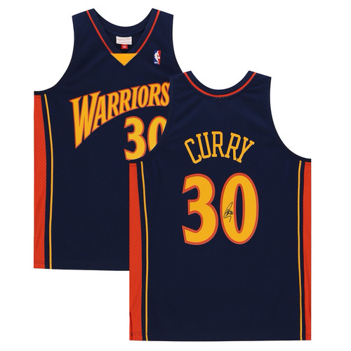 STEPHEN CURRY Autographed Golden State Warriors Navy 09-10 Throwback Authentic Mitchell & Ness Jersey FANATICS