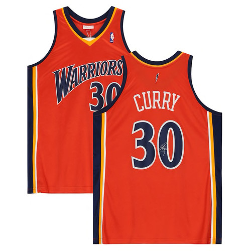 STEPHEN CURRY Autographed Golden State Warriors Orange 09-10 Mitchell & Ness Authentic Throwback Jersey FANATICS