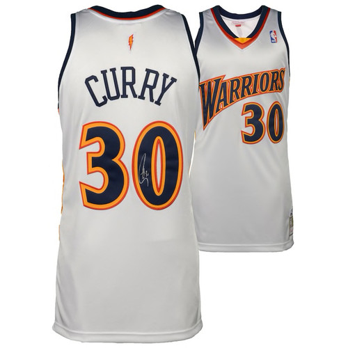 STEPHEN CURRY Autographed Golden State Warriors White 09-10 Mitchell & Ness Authentic Throwback Jersey FANATICS