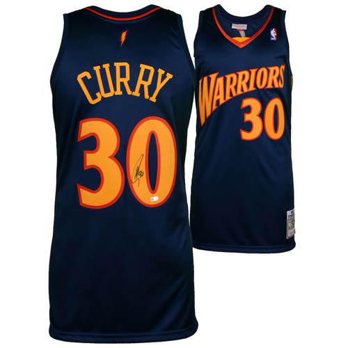 STEPHEN CURRY Autographed Golden State Warriors Navy 09-10 Mitchell & Ness Throwback Jersey FANATICS