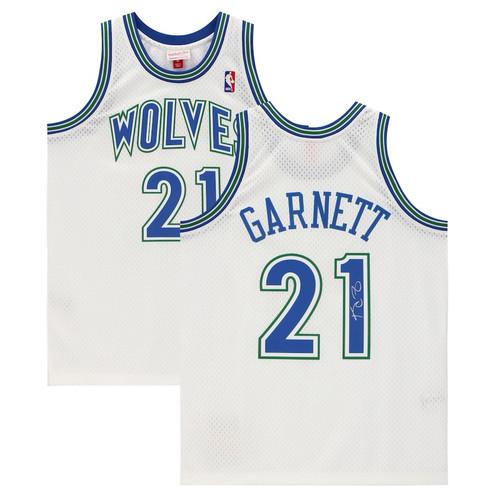 KEVIN GARNETT Autographed Minnesota Timberwolves White Mitchell & Ness Swingman Jersey FANATICS