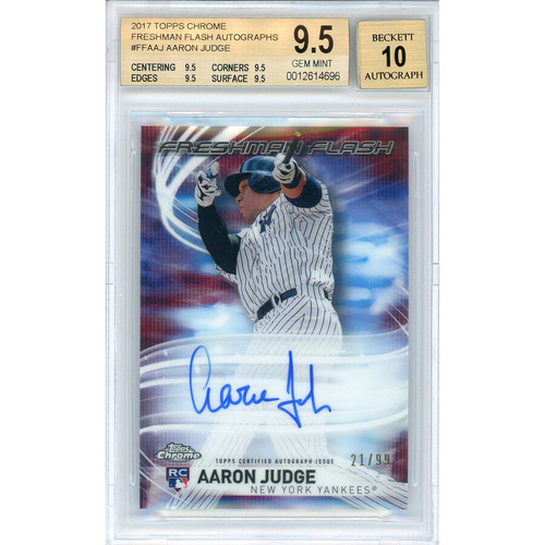 AARON JUDGE Autographed New York Yankees 2017 TOPPS CHROME RC Card BECKETT 10
