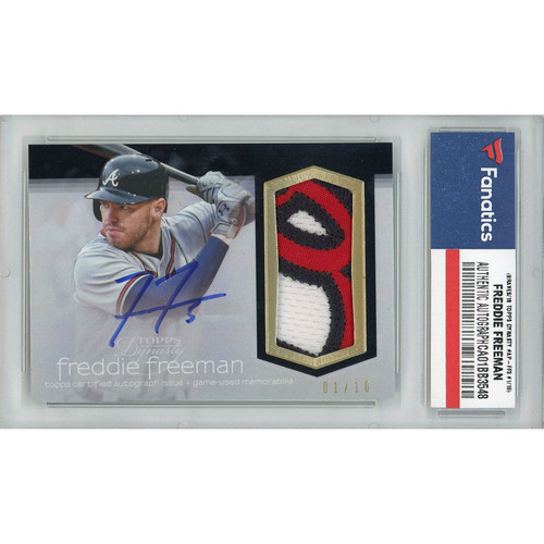 FREDDIE FREEMAN Autographed Atlanta Braves 18 TOPPS Dynasty Patch Relic Card LE 1/10