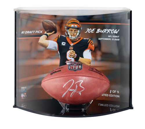 JOE BURROW Autographed Cincinnati Bengals Authentic Football #1 Pick Curve Display FANATICS LE 1/9