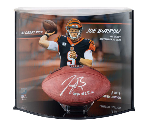 "JOE BURROW Signed ""2020 #1 Pick"" Cincinatti Bengals Football Curve Display FANATICS LE 9/9"