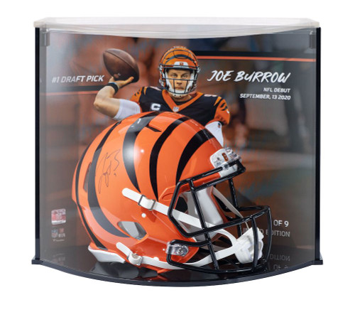 JOE BURROW Signed Cincinatti Bengals #1 Pick Authentic Helmet Curve Display FANATICS LE 9/9