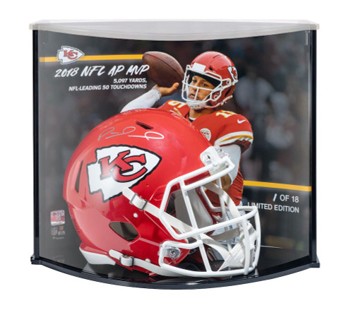 PATRICK MAHOMES Signed Kansas City Chiefs 2018 MVP Stat Speed Helmet Curve Display STEINER LE 18