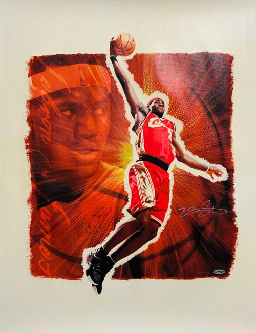 """LEBRON JAMES Autographed Cleveland Cavaliers """"Stargazer"""" """"28 x 24"""" Lithograph UDA LE 25/123"""